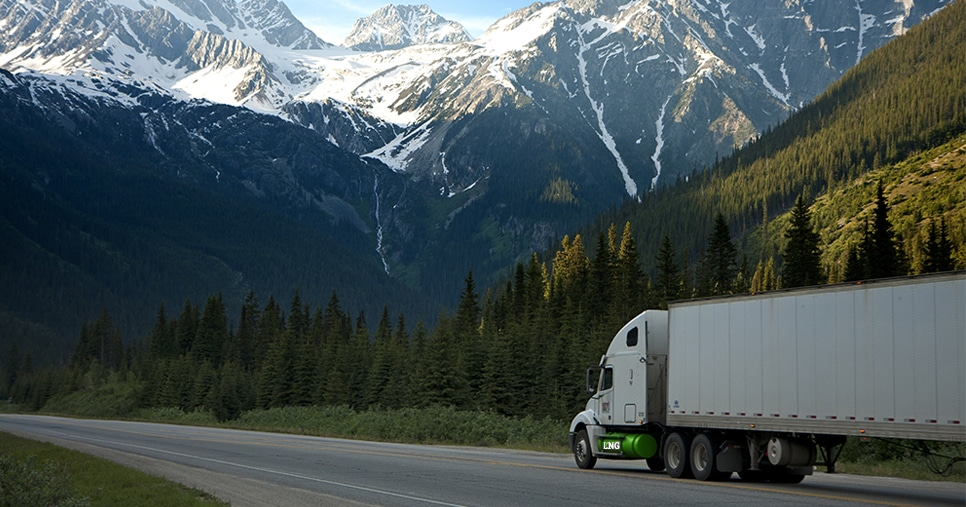 heavy-duty natural gas vehicle (NGV) or truck driving on renewable natural gas, or rng